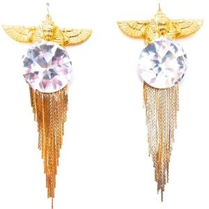 EGYPTIAN GOLDISIS GODDESS MOONDST FRINGE EARRINGS